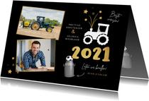 Zakelijke nieuwjaarskaart tractor vuurwerk carbid 2021