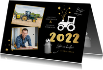 Zakelijke nieuwjaarskaart tractor vuurwerk carbid 2022