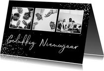 Zakelijke nieuwjaarskaart zilver fotocollage met spetters
