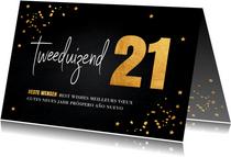 Zakelijke Nieuwjaarskaart zwart goudlook 2021