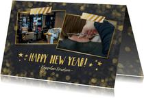 Zakelijke nieuwjaarskaart zwart met goudlook confetti