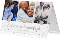 Zilveren huwelijk 25 jaar getrouwd kaart met 3 eigen foto's