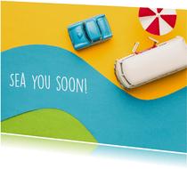 Zomaar ansichtkaart 'sea you soon' een bus aan het strand