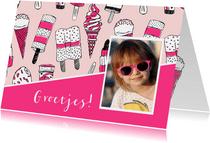 Zomaar een kaartje met ijsjes en foto