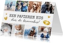 Zomaar fotocollage kaart met 8 foto's kus door de brievenbus