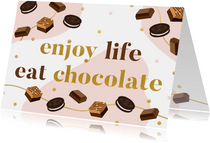 Zomaar kaart 'enjoy life eat chocolate' met illustraties