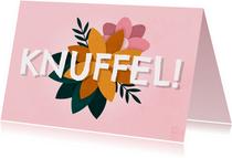 Zomaar kaart knuffel met bloemen roze