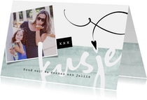 Zomaar-kaart, 'kusje' met foto en hartje