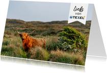 Zomaar kaart schotse hooglander met groetjes vanaf Texel