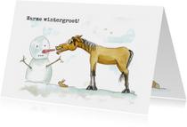 Zomaar kaarten warme wintergroet Sjors met sneeuwpop