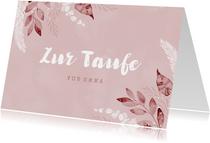 Zur Taufe Glückwunschkarte rosa Zweige
