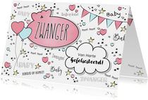Zwangerschap -Hippe felicitatie kaart in handlettering-stijl