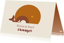 Zwangerschapskaart alleenstaande mama met walvis en baby