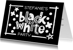 Black and White Party Fun Einladungskarte