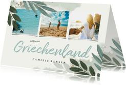 Botanische Urlaubskarte mit 3 Fotos und Wasserfarbe