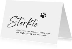 Condoleancekaart voor een huisdier sterkte met pootafdruk