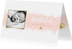 Dankeskarte Geburt hip Foto & Aquarell rosa