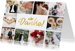 Dankeskarte Hochzeit mit Fotocollage und goldenen Herzen