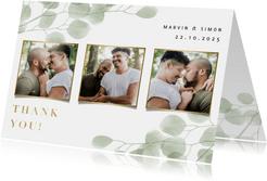 Danksagung Hochzeit mit Fotos und Eukalyptus