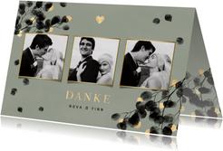 Danksagung Hochzeitsfeier Eukalyptus schwarz Fotos