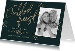 Dubbel feest uitnodiging samen 100 stijlvol goud foto
