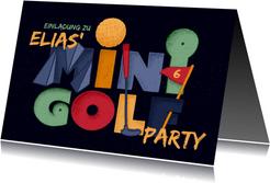 Einladung Minigolf-Party - Funky Lettering