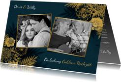 Einladung zum Hochzeitsjubiläum goldene Blumen