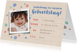 Einladung zum Kindergeburtstag mit Punkten und Foto