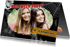 Einladung zur Halloweenparty Spinnennetz & Foto