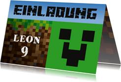 Einladungksarte zum Minecraft-Kindergeburtstag