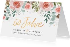 Einladungskarte goldene Hochzeit rosa Rosen