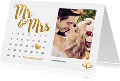 Einladungskarte zur Hochzeit Buchstaben in Goldlook