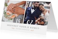 Fotokaart bedankt huwelijksdag met 2 foto's