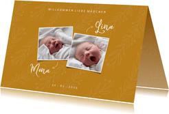 Geburtskarte Zwilling ocker botanisch mit Fotos