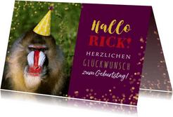 Geburtstagskarte Pavian mit Partyhut
