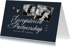 Geregistreerd partnerschap stijlvol uitnodiging goud chique