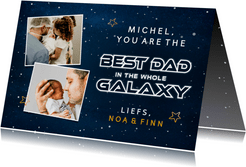 Hippe vaderdagkaart met ruimte thema best dad in the galaxy