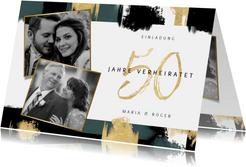 Jubiläumskarte Goldhochzeit Fotos & Farbstreifen