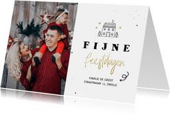 Kerst verhuiskaartje lijntekening huisje fijne feestdagen