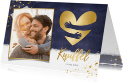 Kerstkaart gouden hart met papieren knuffel en eigen foto