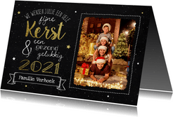 Kerstkaart - Krijtbord met goudlook en foto