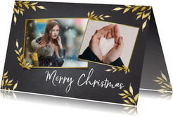 Kerstkaart krijtbord staand voor 2 foto's