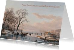Kerstkaart met afbeelding van A. Schelfhout bevroren vaart