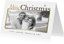 Kerstkaart stijlvol goud foto hartjes wit