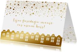Kerstkaart verhuiskaart huisjes goudlook sterren