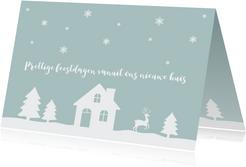 Kerstkaart verhuiskaart huisje sneeuw silhouet