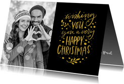 Kerstkaart Wishing you a Happy Christmas met eigen foto