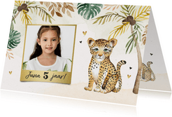 Kinderfeestje luipaard jungle meisje palmbomen foto hartjes