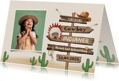 Kindergeburtstag Einladung Cowboy & Indianer