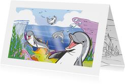 Kinderkaart Dolfijn met kleurplaat - A